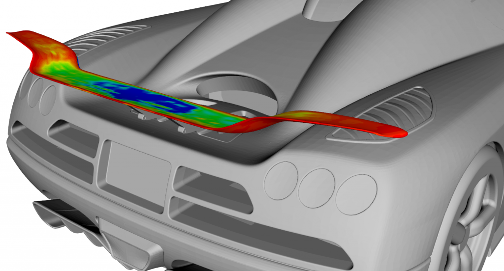 Results of Adjoint CFD computations, visualized in CAESES