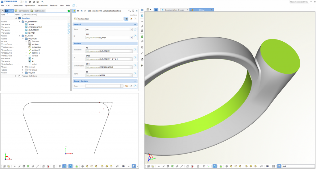 Parametric volute design for pumps and turbochargers
