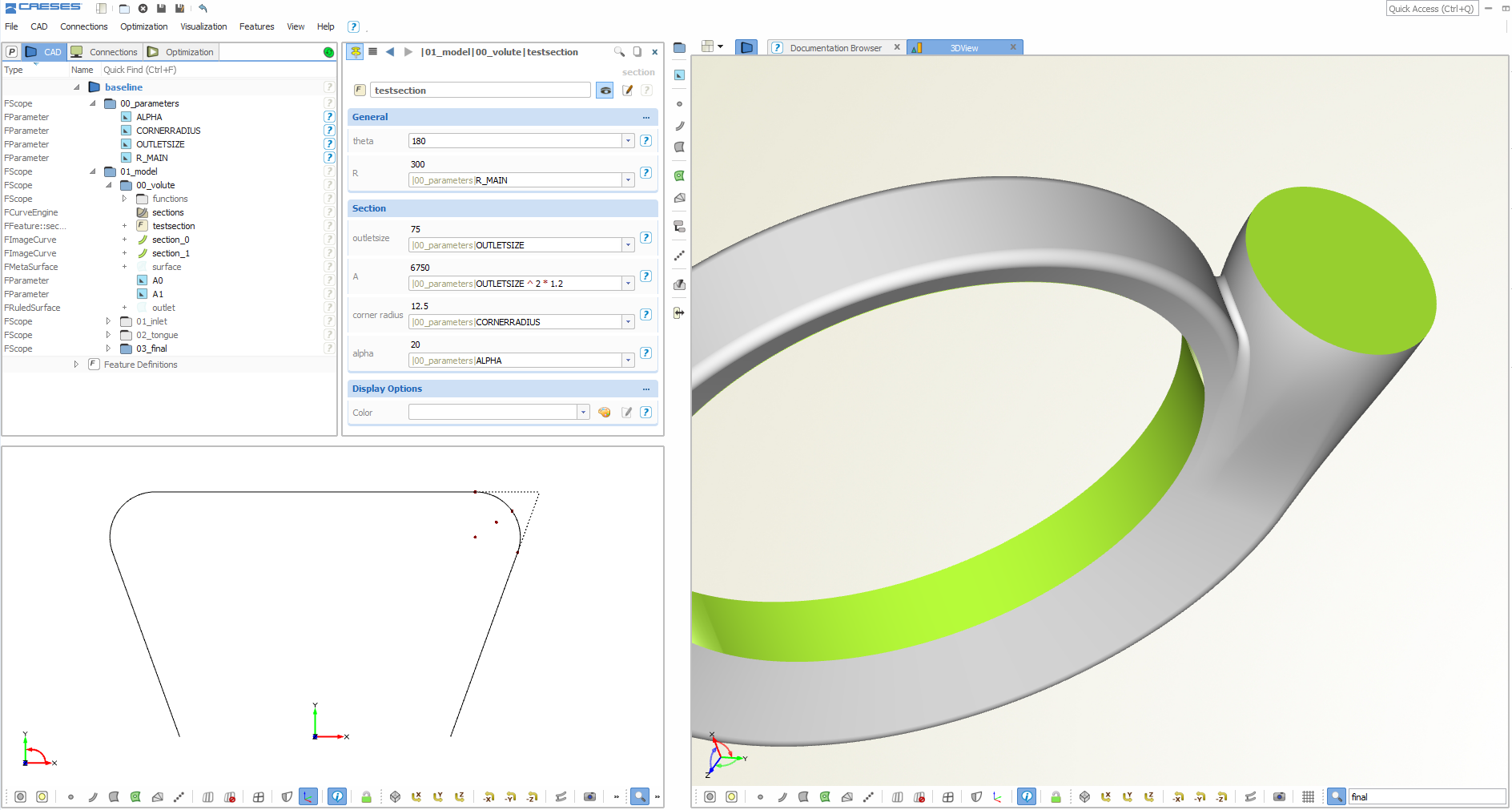 Smart CAD Models for Turbocharger and Pump Volutes › CAESES