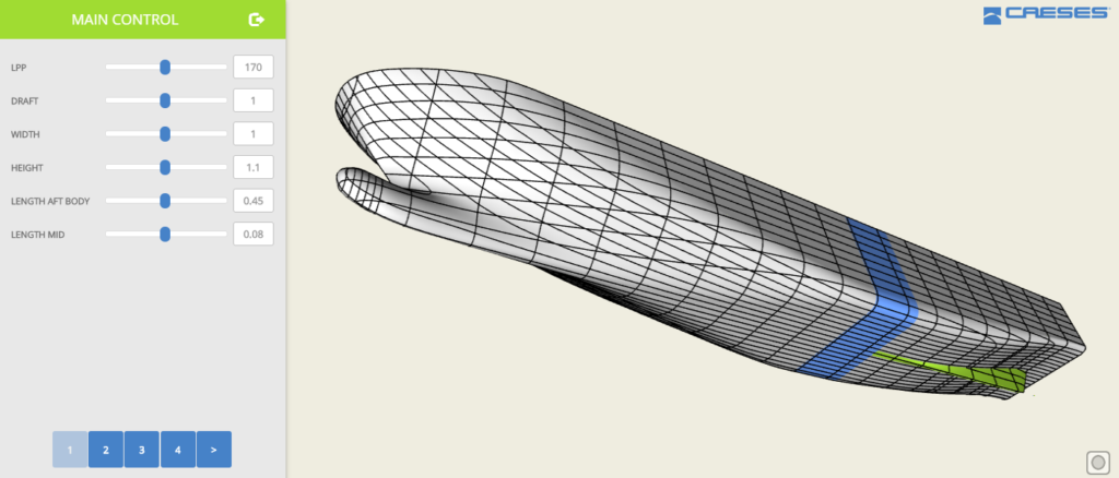 Ship hull design through browser, including geometry download