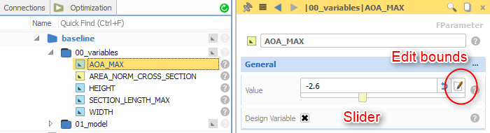 New slider control for design variables
