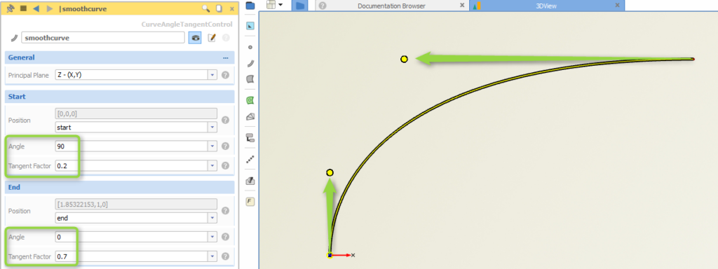 New helper curve for shaping with angles and tangents
