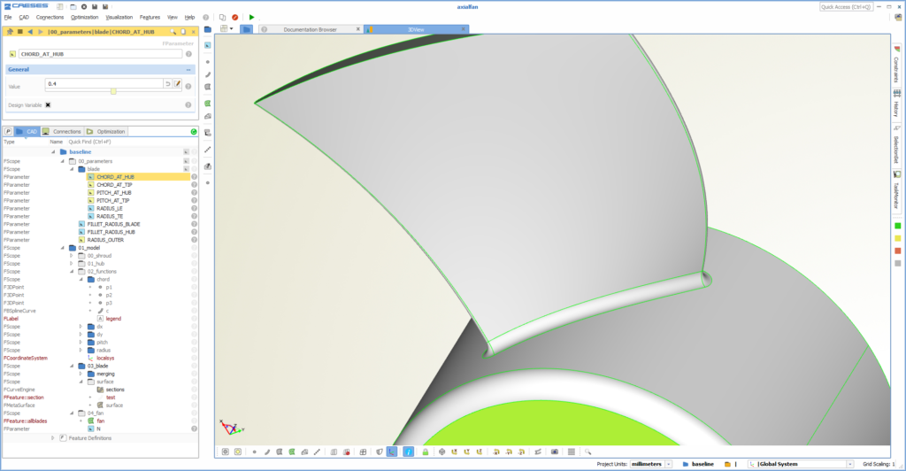 CAD model in the graphical user interface of CAESES