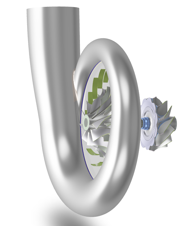 Complete assembly including parametric volute, compressor and turbine