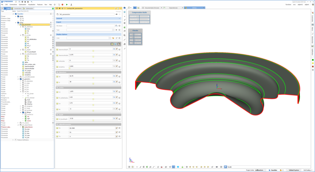 Parametric CAD geometry of a piston bowl in CAESES