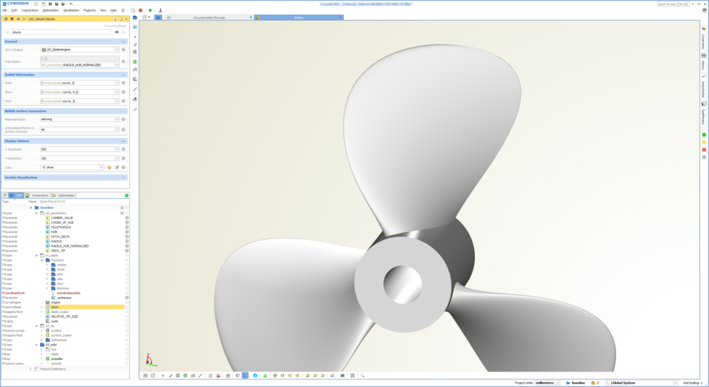 Parametric CAESES model of an efoil propeller