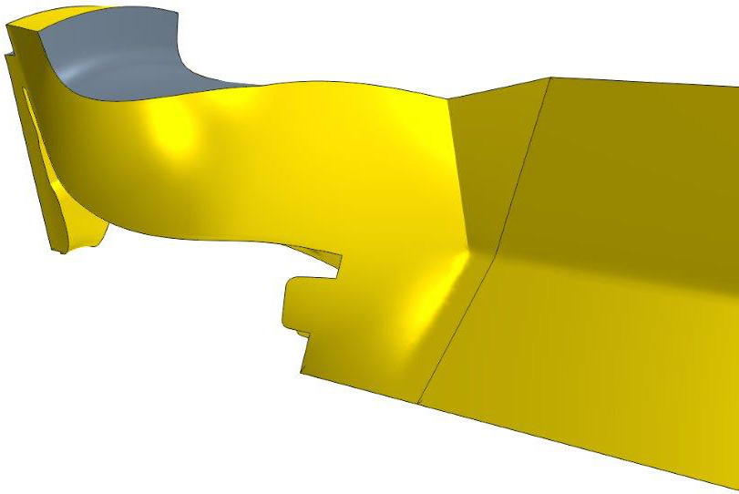 Parametric fluid domain that is part of the radial turbine model in CAESES