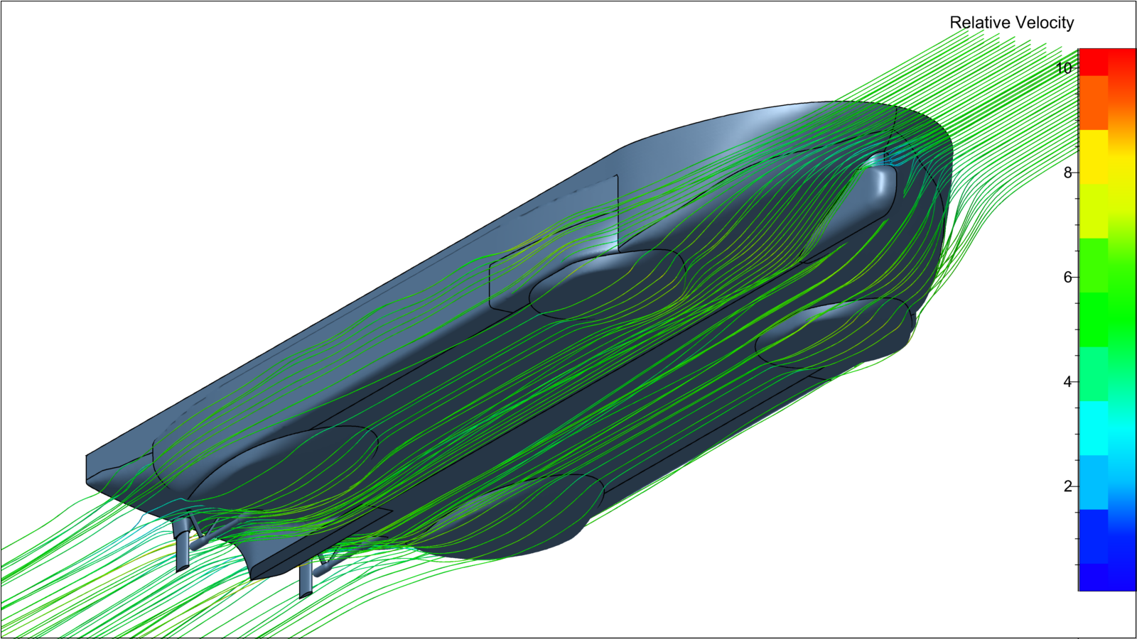 Streamlines around final configuration of the vessel