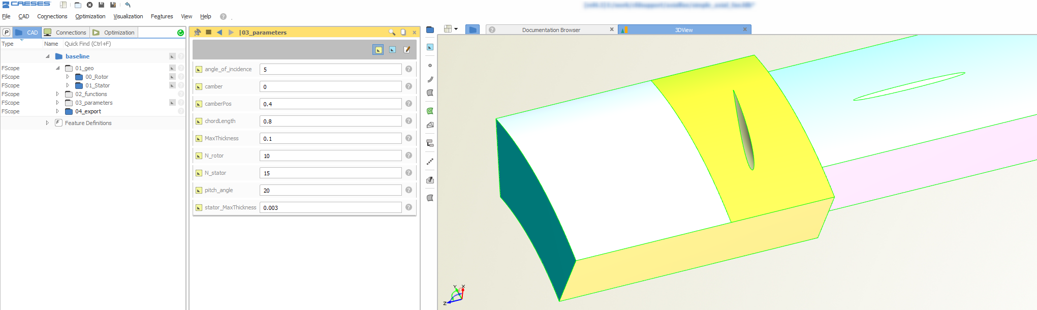 Fully-parametric axial fan model in CAESES, including periodic flow domain for CFD