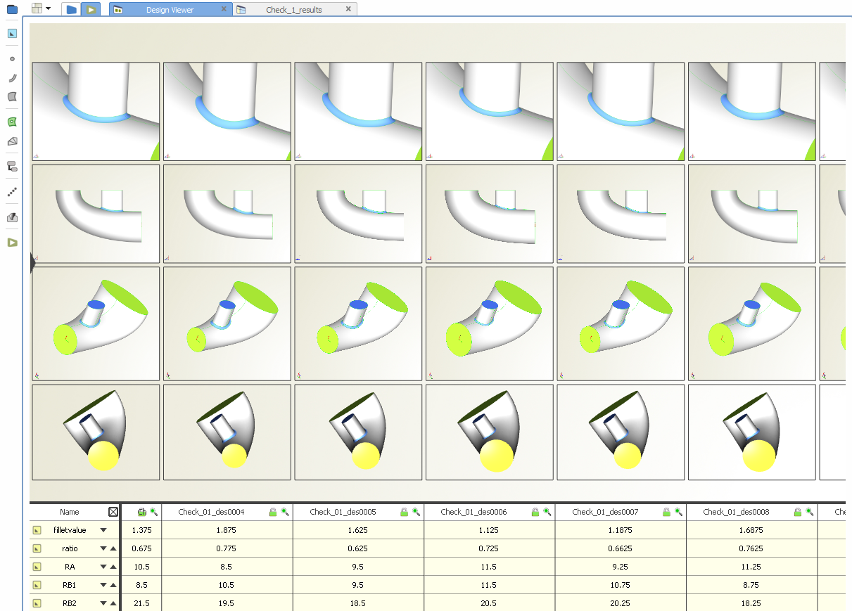 CAESES design viewer: Shows all generated geometry variants as a side-by-side comparison