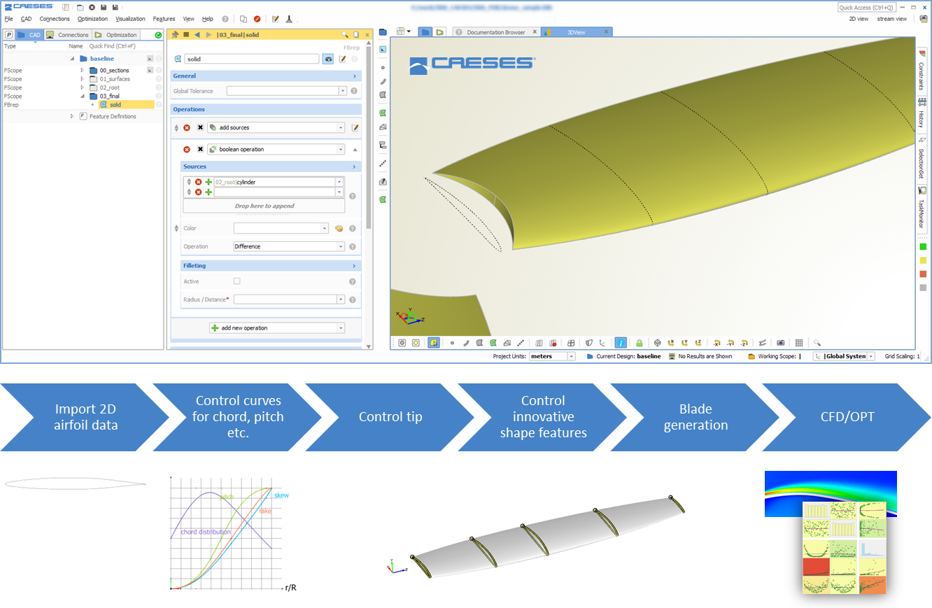 Automated in CAESES: From importing airfoil data up to 3D blade creation and shape optimization with simulation