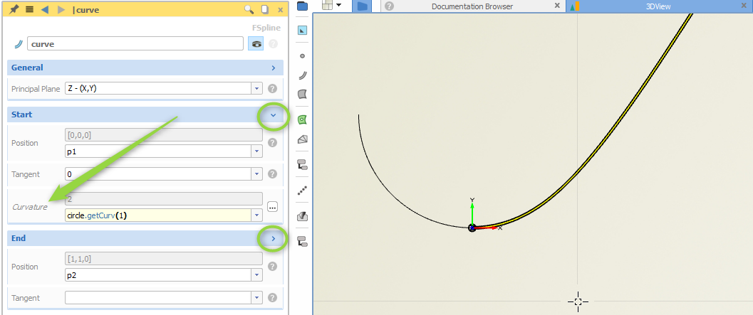 Optional curvature settings for the fspline curve type