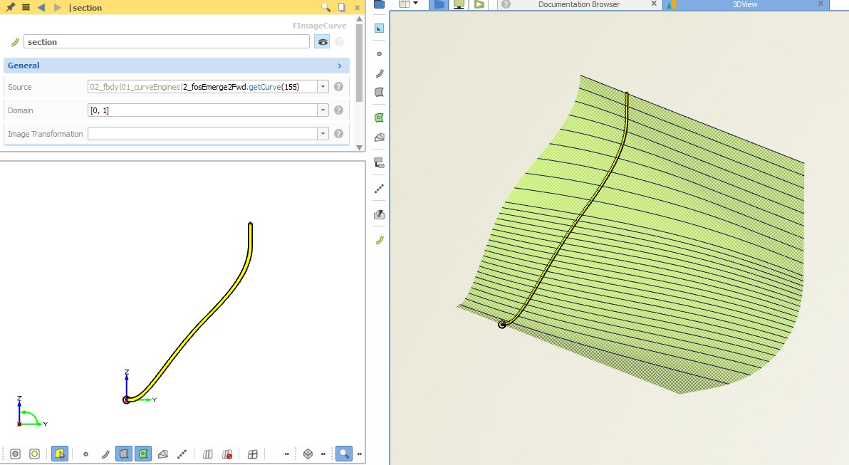 Parametric ship hull section at 155 m, taken and visualized from the curve engine