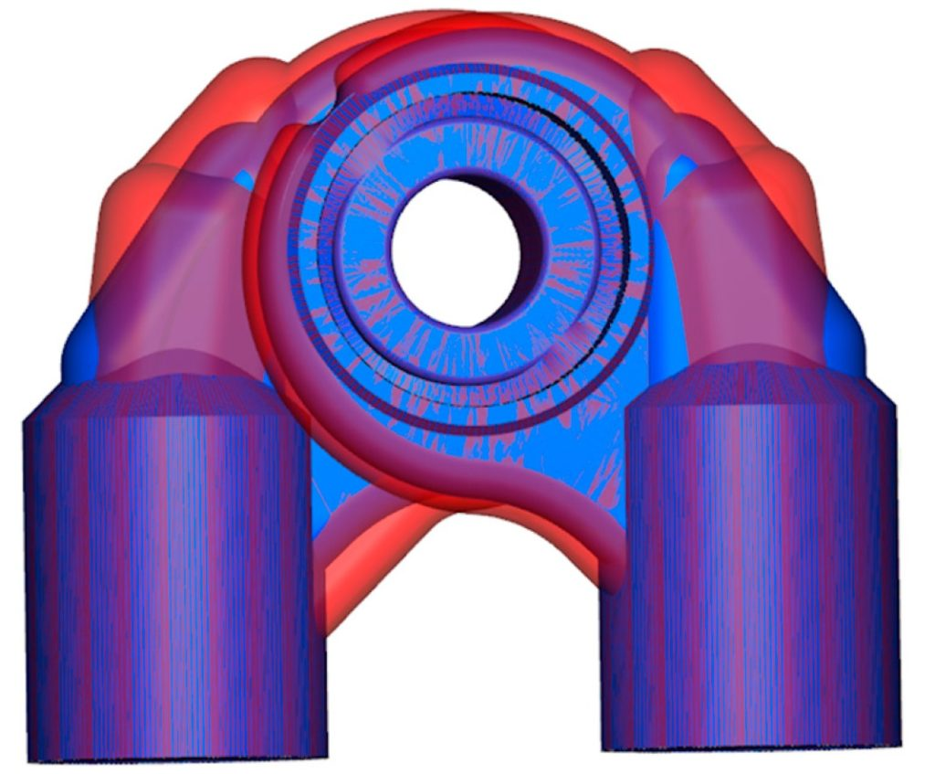 Comparison of baseline (blue) and optimized (red) valve port geometries