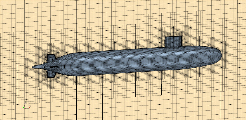 Unstructured hexahedral mesh around the submarine
