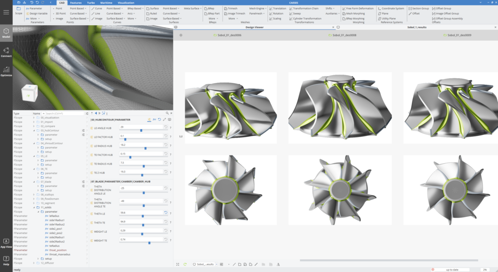 CAESES GUI for  Design and Optimization of Turbomachinery